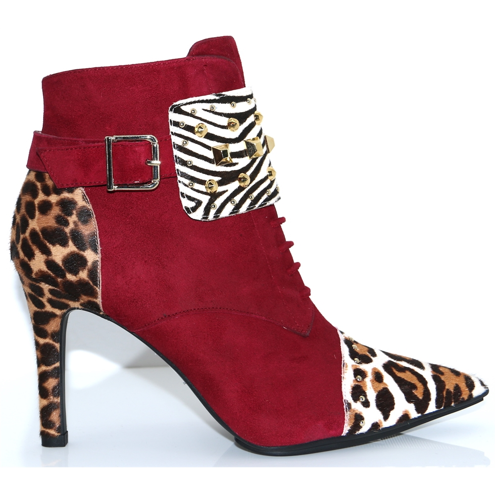 Rimenaint - LODI BURGUNDY AND ANIMAL PRINT ANKLE BOOTS
