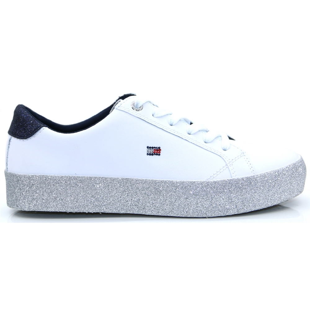 Corp.Crystal Dress Sneaker - Tommy Hilfiger WHITE AND GLITTER TRAINERS