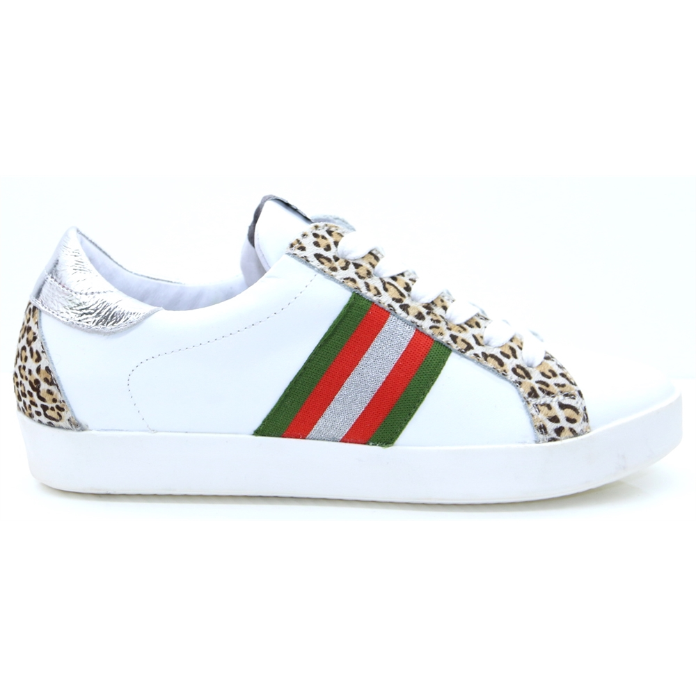 IN1404 - Meline White Leopard and Stripe Trainers