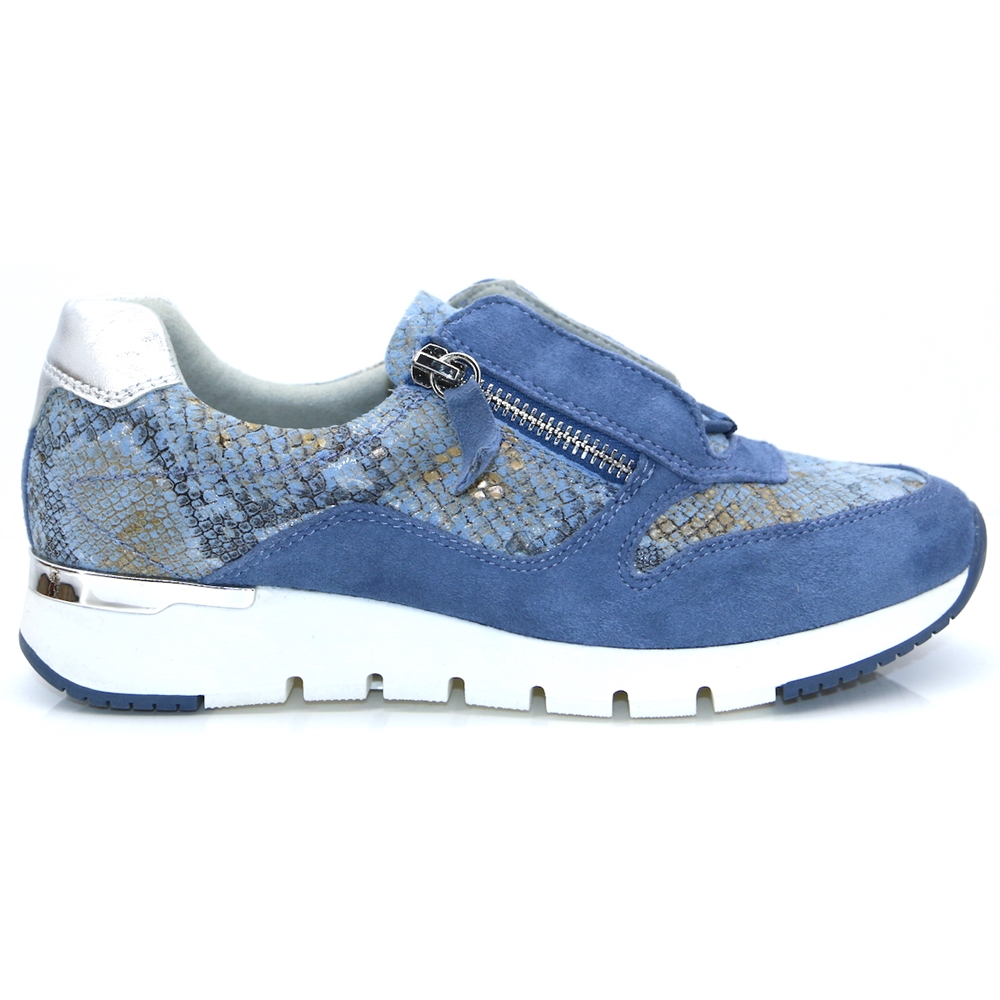 23706-24 - Caprice Blue Snake Print Trainers