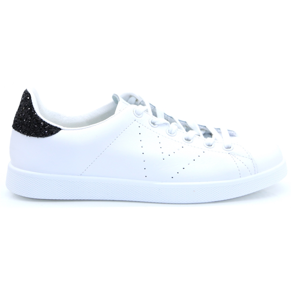 1125104 - Victoria White and Black Glitter Trainers