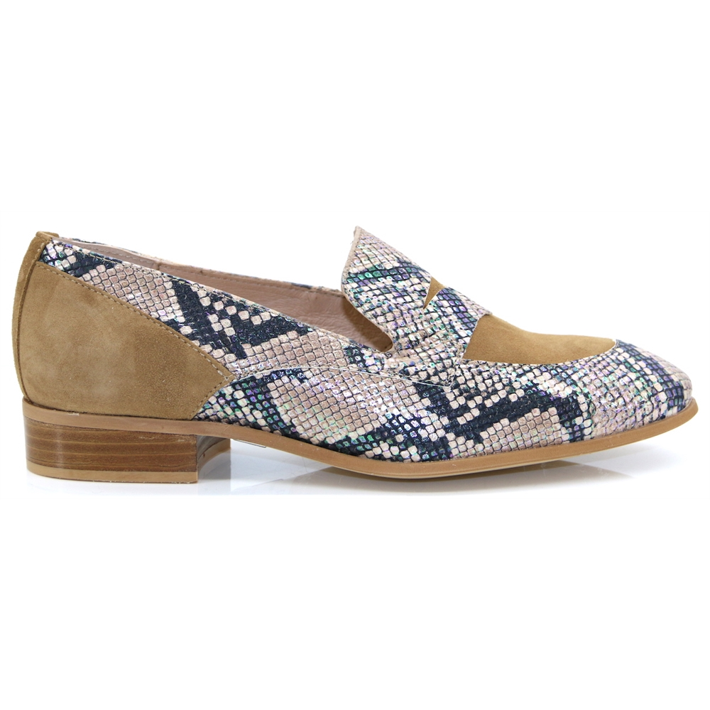 B-7602 - Wonders Sand Suede and Snake Print Loafers