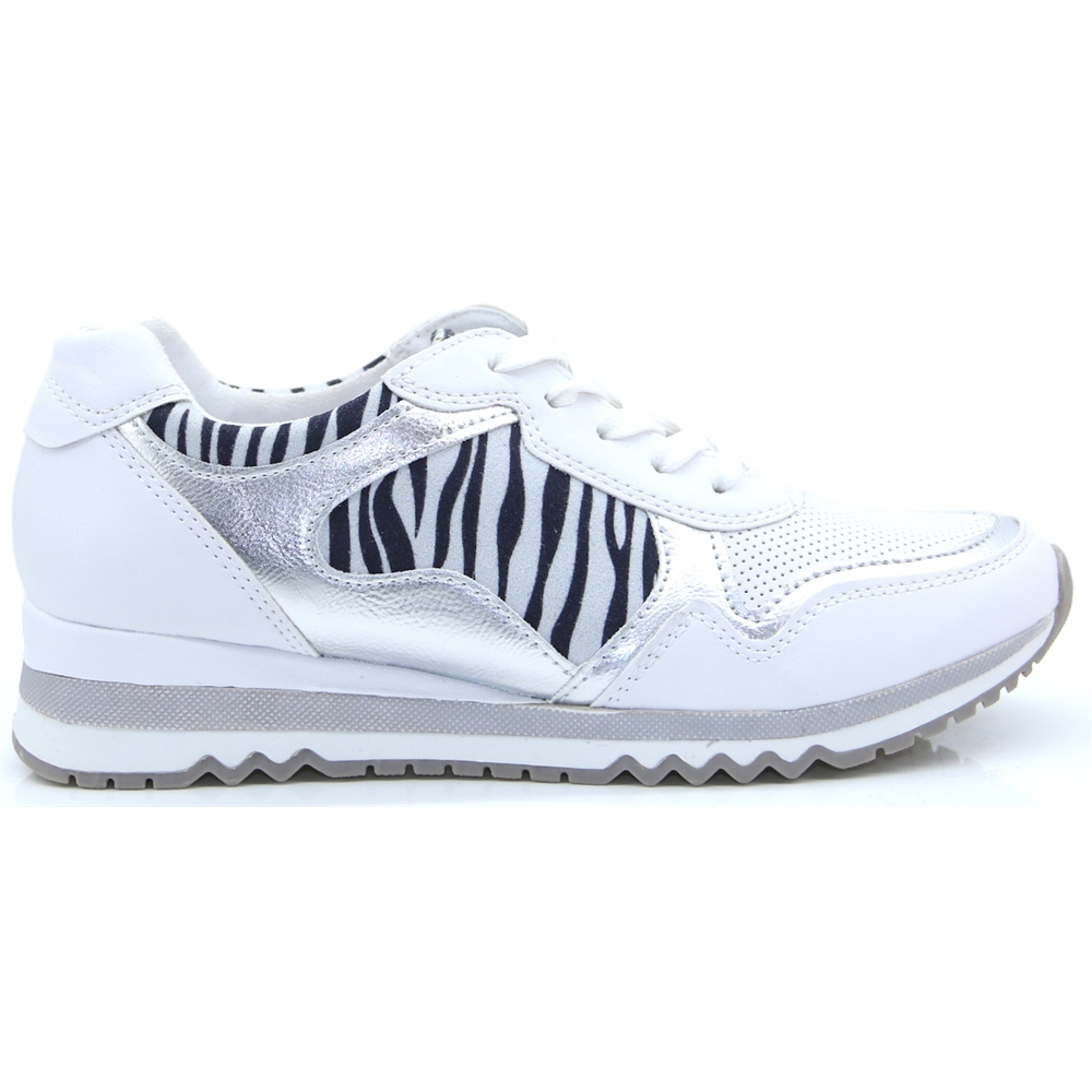 23753-34 - Marco Tozzi White and Zebra Print Trainers