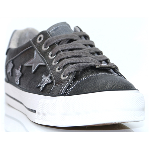 1288-302 - MUSTANG DARK GREY TRAINERS WITH STARS