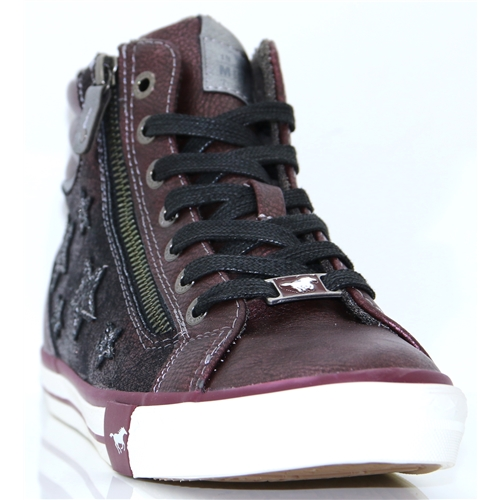 1146-525 - MUSTANG BORDO HIGH TOP TRAINERS