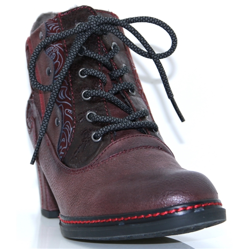 1287-512 - MUSTANG BURGUNDY ANKLE BOOTS