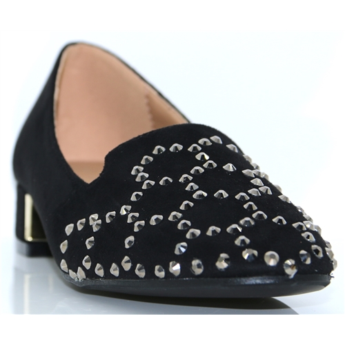 Baker - LUNAR BLACK SLIP ON SHOES WITH DIAMANTES