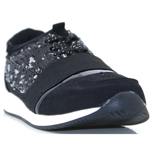 470511 - FABS BLACK GLITTER SLIP ON TRAINERS