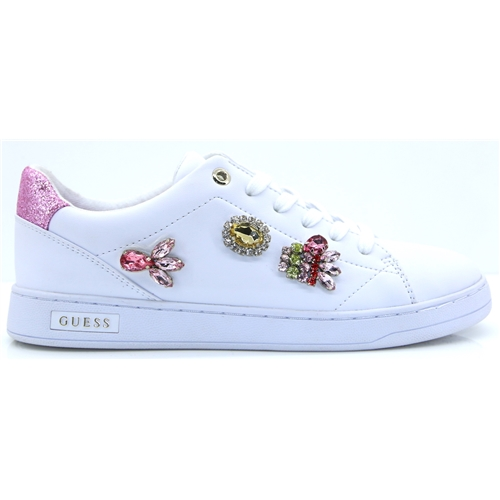 FL5CREELE12 - GUESS WHITE TRAINERS WITH DIAMANTES