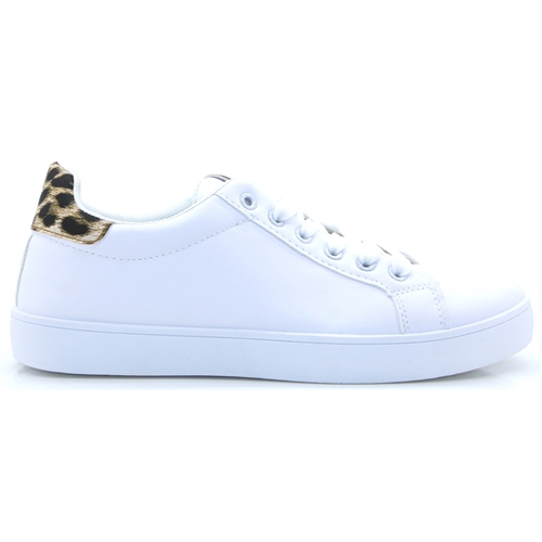 C8280 - PANACHE WHITE AND LEOPARD PRINT TRAINERS