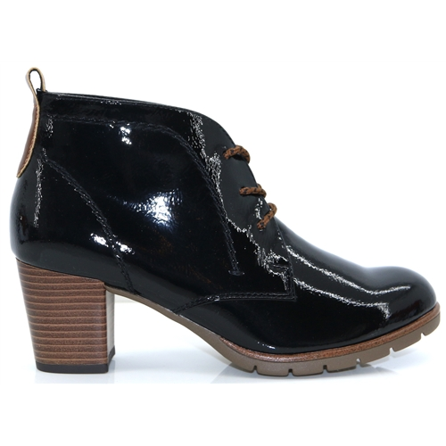 25109-33 - MARCO TOZZI BLACK PATENT ANKLE BOOTS