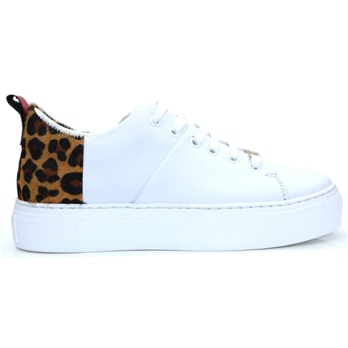 Brylee - MODA IN PELLE WHITE AND LEOPARD PRINT TRAINERS