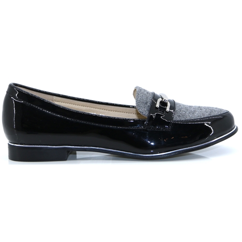 Antonella - LUNAR GREY AND BLACK PATENT LOAFERS