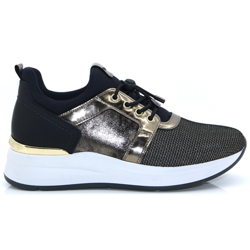 A908892D - Nero Giardini BLACK AND GOLD SLIP ON TRAINERS