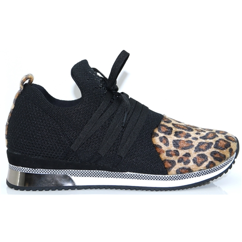 23734-23 - MARCO TOZZI BLACK AND LEOPARD SLIP ON TRAINERS