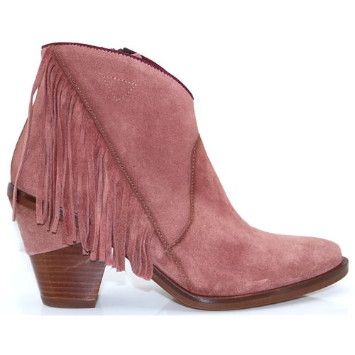 K2385 - KANNA ROSE SUEDE ANKLE BOOTS WITH FRINGE