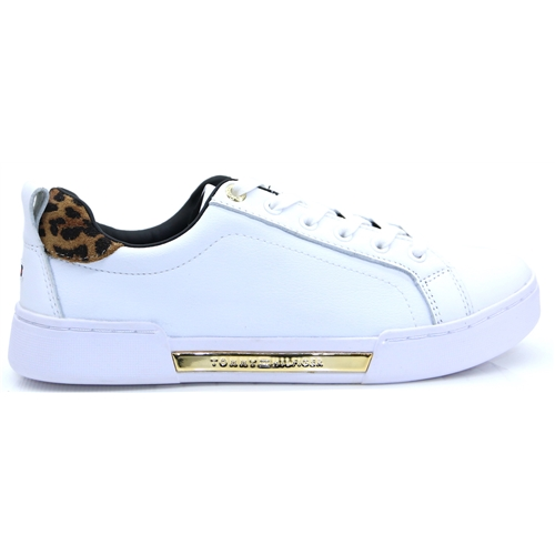Branded Leo Print Sneaker - Tommy Hilfiger WHITE AND LEOPARD TRAINERS