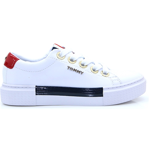 Leather elevated Tommy - Tommy Hilfiger White Navy and Red Trainers