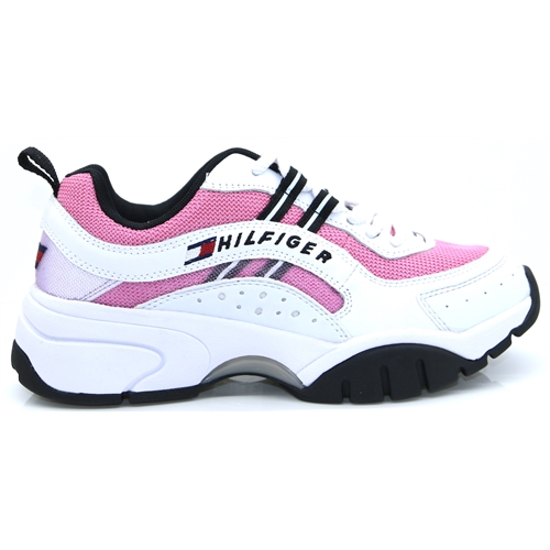 Heritage Tommy Jeans Runner - Tommy Hilfiger Pink White and Black Trainers