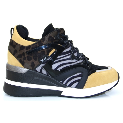 44657 - Xti Zebra and Yellow Wedge Trainers