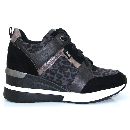 44654 - Xti Grey Leopard and Black Wedge Trainers