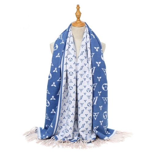 Hua055 - Panache Blue and Cream Scarf
