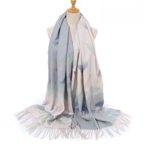 HUA027 - Panache Cream and Silver Leaf Scarf
