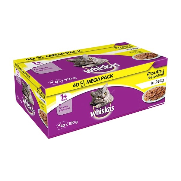 Whiskas Pouch Jelly 40 for 32 Poultry Selection