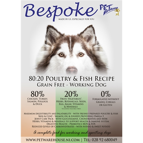 Bespoke 8020 Poultry Fish Dog Food 15kg Buy Pet Warehouse N I Ltd