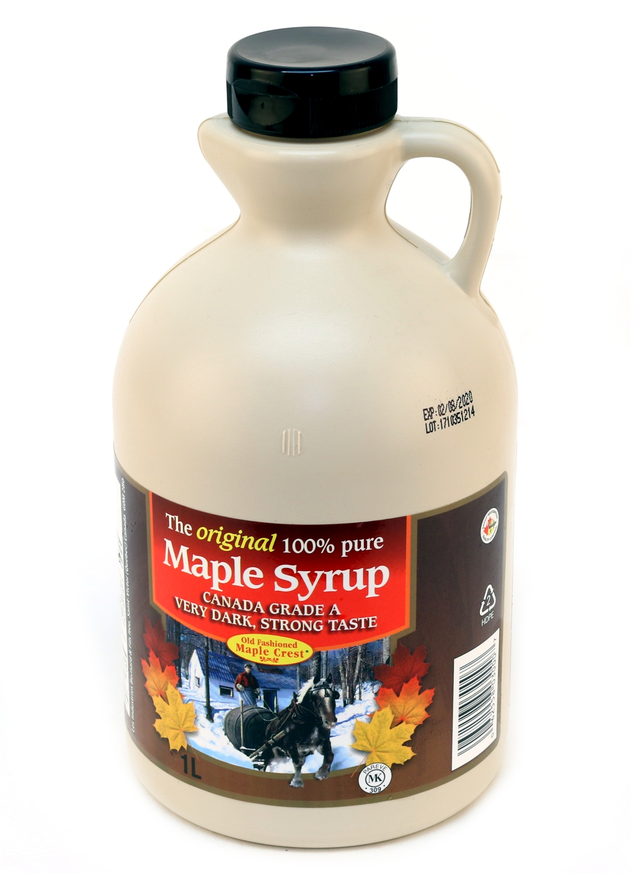 Bernard's 100%  Pure Maple Syrup Grade A Very Dark Strong Taste 1lt