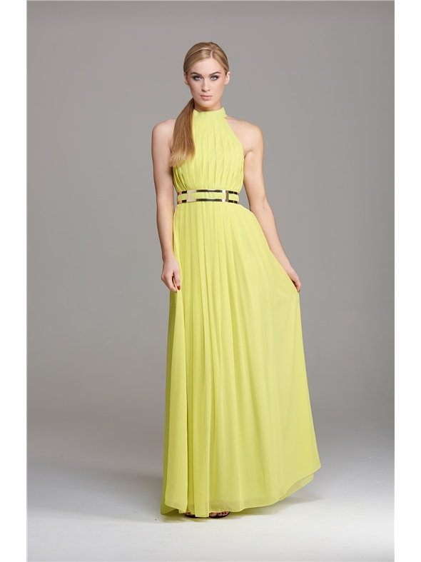 Forever Unique full length maxi formal prom dress lime with gold ...
