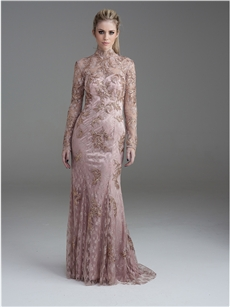Full length nude lace evening dress