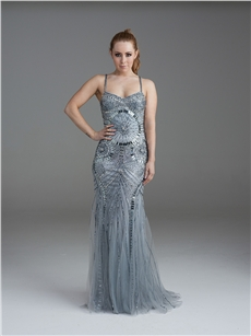 Embellished silver gown with fine straps