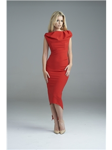 pauline drape dress red