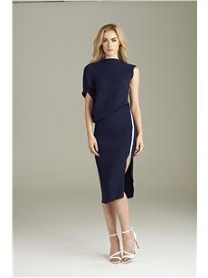 Valentina Navy Knee Dress
