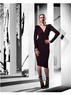 Plunge Plum Dress Textura Jersey