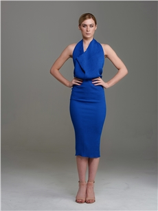 Marina Halter Dress Cobalt