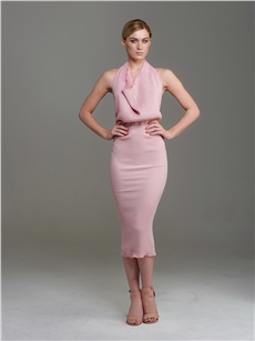 Marina Halter Dress Blush