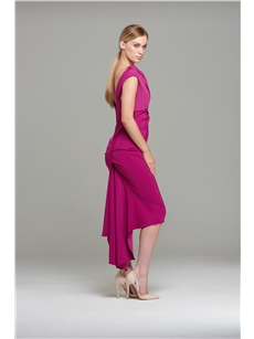 Magenta Sian Drape Dress