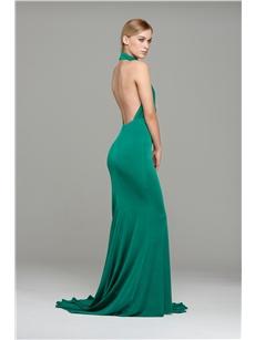 Emerald High Neck Halter Prom Dress