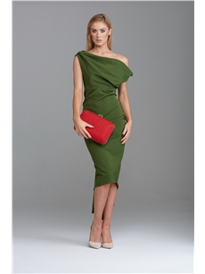 Sian Drape Dress Delauney Scuba Olive