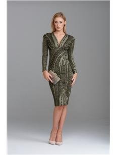 Evelyn Plunge Dress Khaki Gold