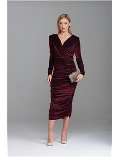 Arista Burgundy Velvet Wrap Dress