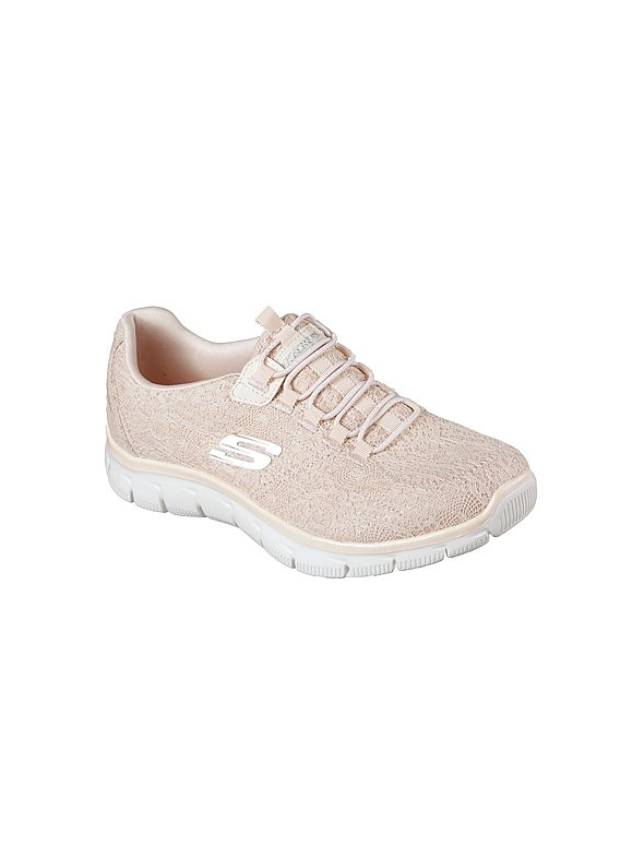 Skechers Ladies Relaxed Fit Empire Spring Glow Peach Slip On Trainer 12811