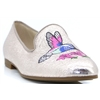 84.262-62 - GABOR GOLD SLIP ON SHOES WITH PINK BIRD DETAIL