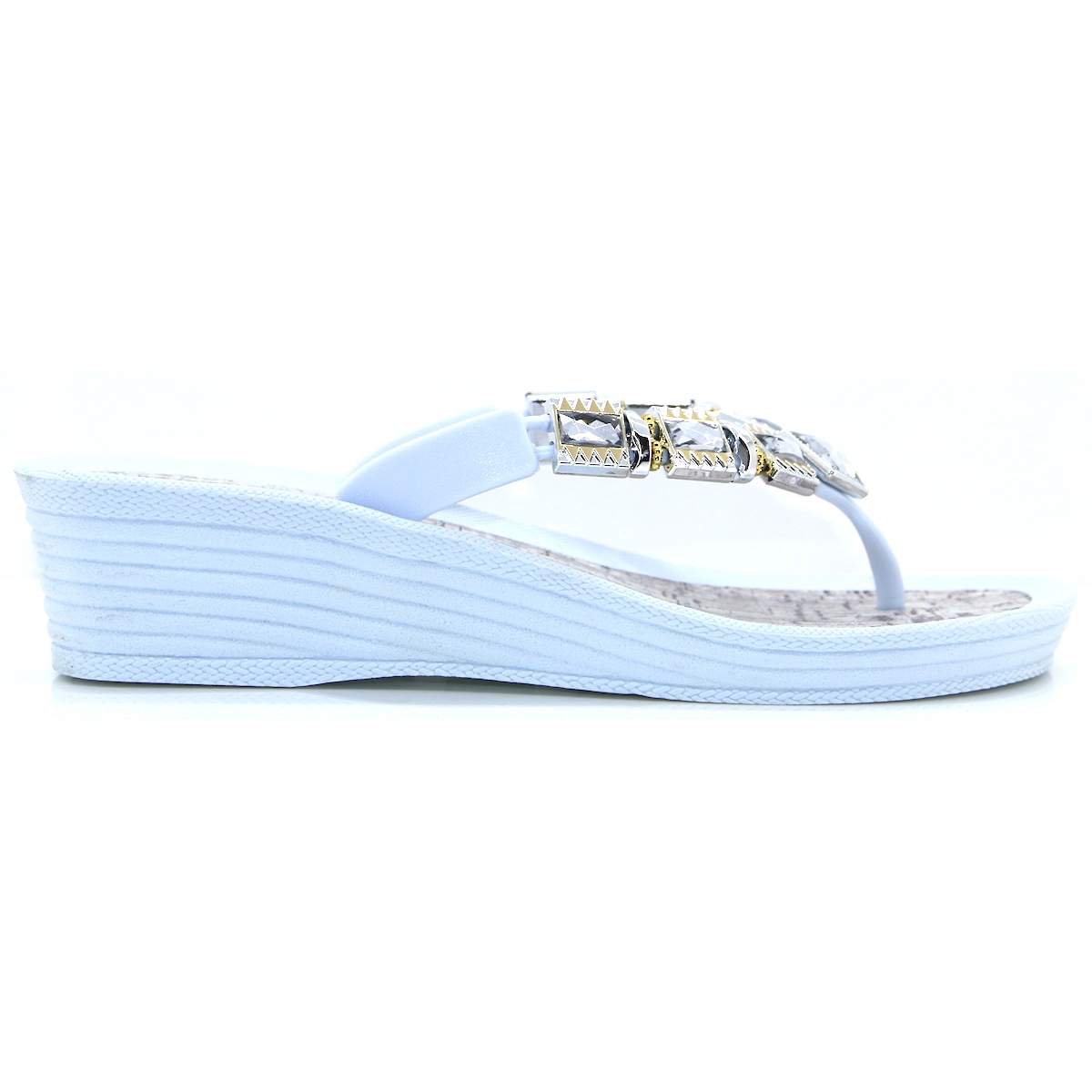 14e0284b0fb8 Inis Shoe - PIA ROSSINI WHITE WEDGE FLIP FLOPS - Panache Shoe Company