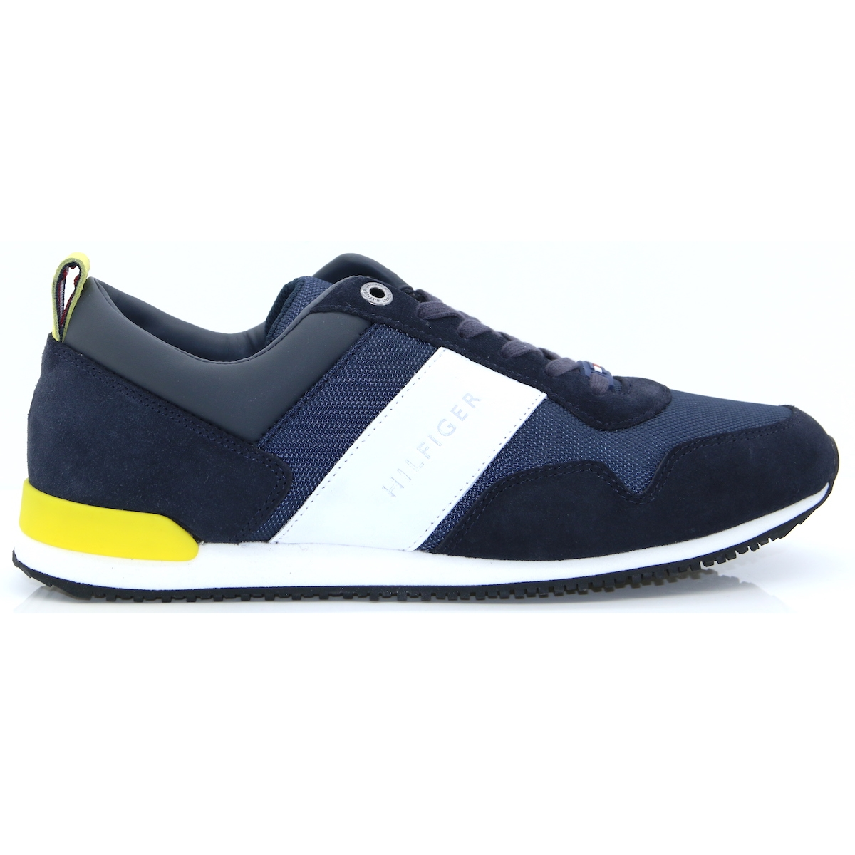 665766f5c77c Iconic Material Mix Runner - Tommy Hilfiger NAVY AND YELLOW TRAINERS. Tap  to expand