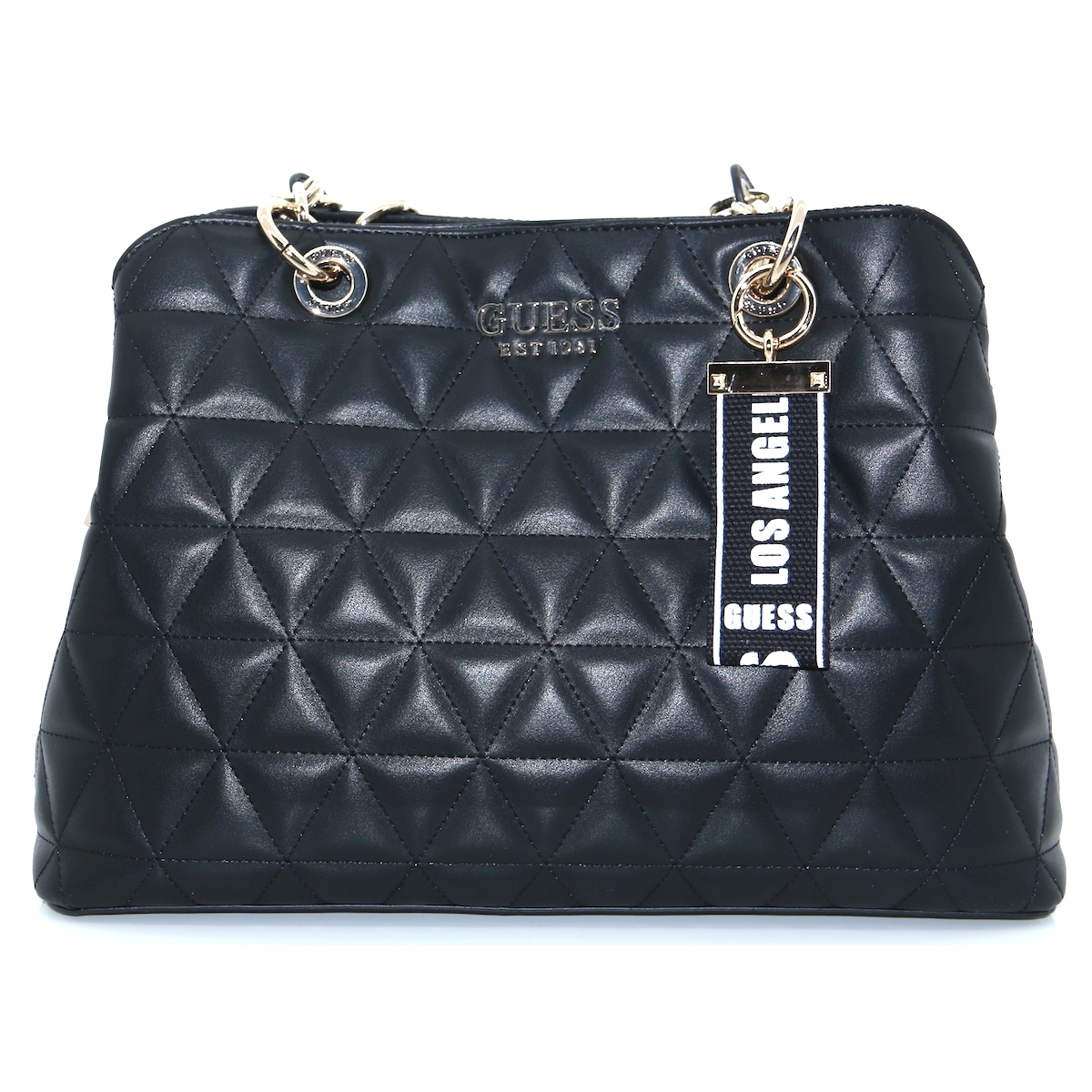 VG7407100 - GUESS BLACK QUILTED HANDBAG