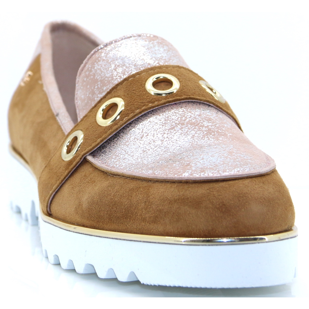5d746bee929d Sometimes - BOURBON TAN AND ROSE LOAFERS - Panache Shoe Company