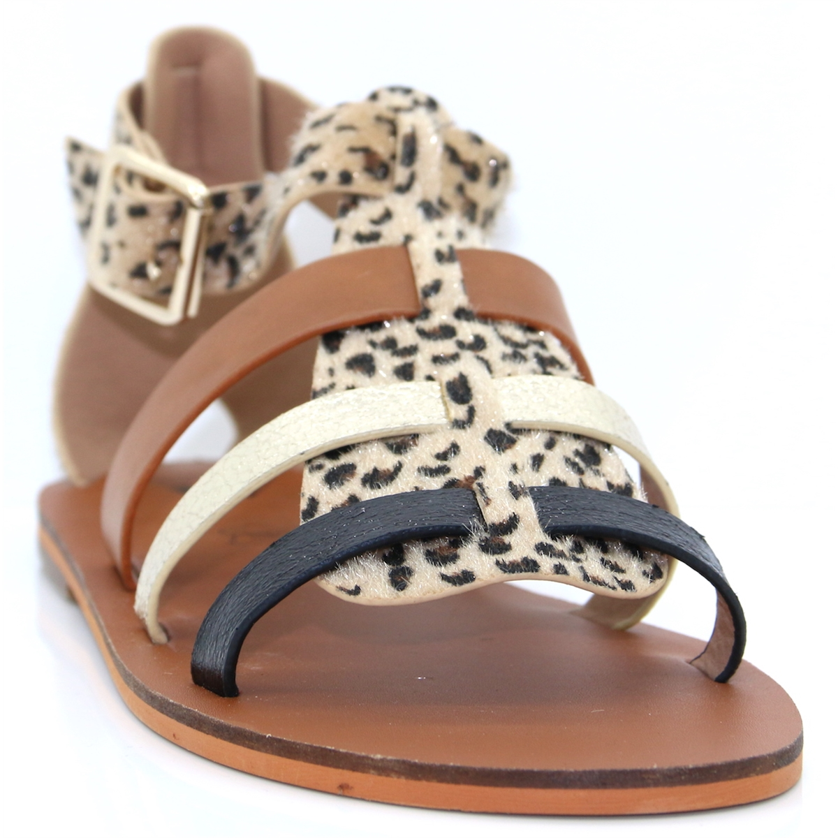 a5a6ef667 SD1957 - VANESSA WU LEOPARD TAN AND GOLD SANDALS - Panache Shoe Company